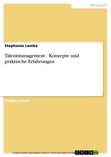 Talentmanagement - Konzepte und praktische Erfahrungen - Blick ins Buch