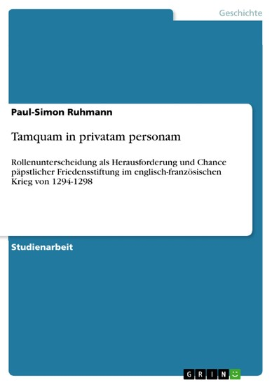 Tamquam in privatam personam - Blick ins Buch