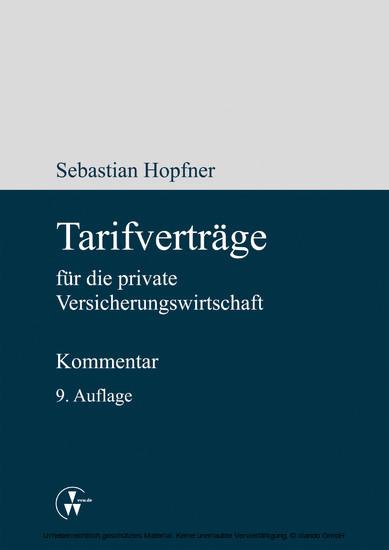 Tarifverträge für die private Versicherungswirtschaft - Blick ins Buch