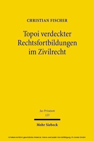 Topoi verdeckter Rechtsfortbildungen im Zivilrecht - Blick ins Buch