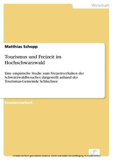 Tourismus und Freizeit im Hochschwarzwald - Blick ins Buch