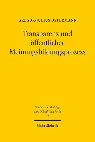 Transparenz und öffentlicher Meinungsbildungsprozess - Blick ins Buch
