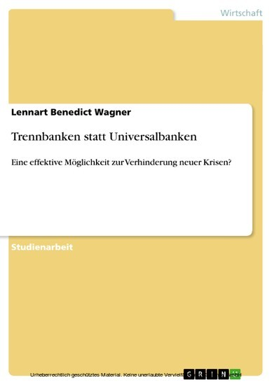 Trennbanken statt Universalbanken - Blick ins Buch