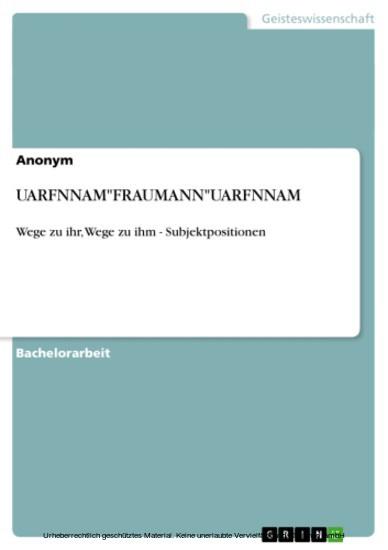 UARFNNAM'FRAUMANN'UARFNNAM - Blick ins Buch