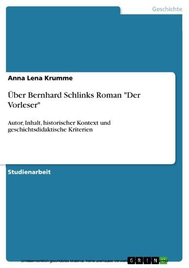 Über Bernhard Schlinks Roman 'Der Vorleser' - Blick ins Buch