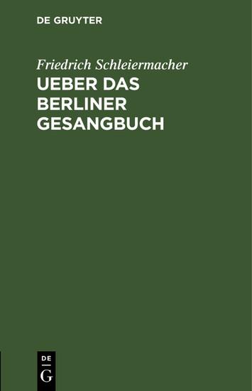 Ueber das Berliner Gesangbuch - Blick ins Buch
