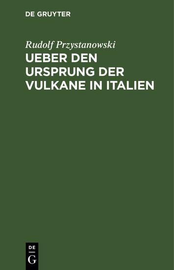 Ueber den Ursprung der Vulkane in Italien - Blick ins Buch