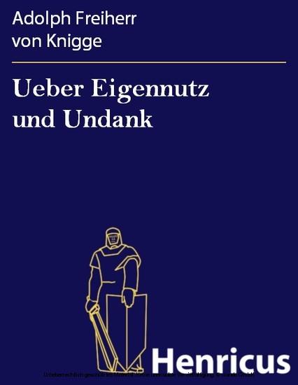 Ueber Eigennutz und Undank - Blick ins Buch