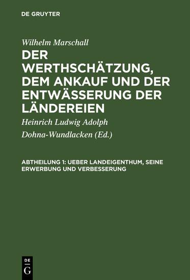 Ueber Landeigenthum, seine Erwerbung und Verbesserung - Blick ins Buch