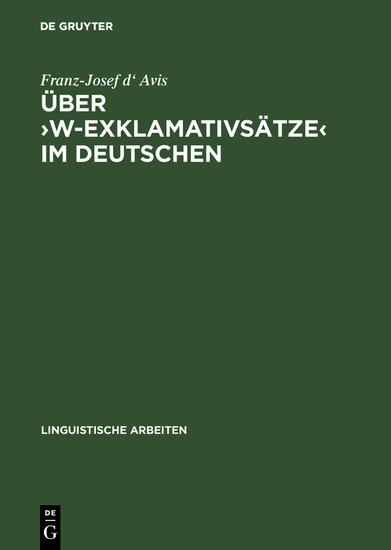 Über ?w-Exklamativsätze? im Deutschen - Blick ins Buch