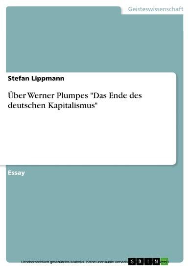 Über Werner Plumpes 'Das Ende des deutschen Kapitalismus' - Blick ins Buch