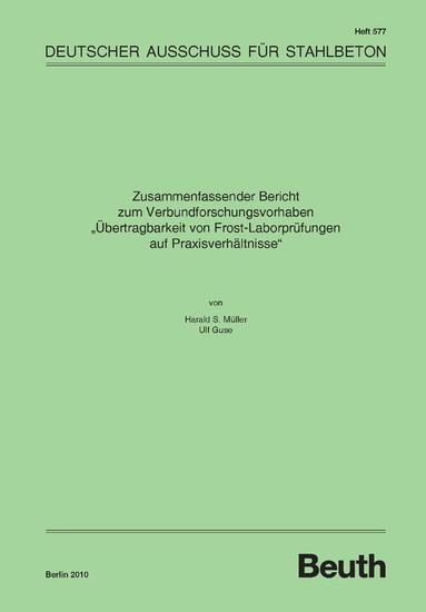 Übertragbarkeit von Frost-Laborprüfungen auf Praxisverhältnisse - Blick ins Buch