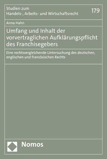 Umfang und Inhalt der vorvertraglichen Aufklärungspflicht des Franchisegebers - Blick ins Buch