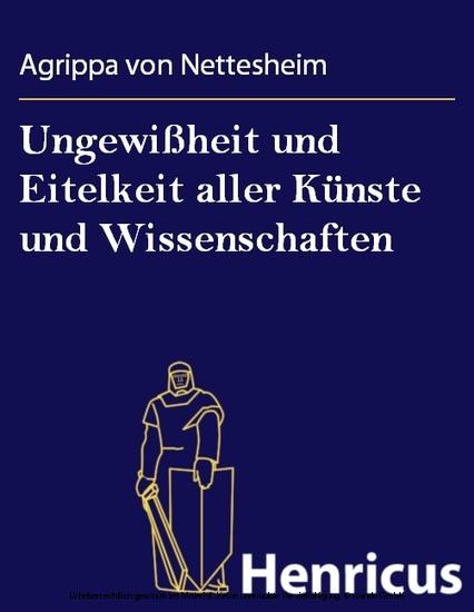 Ungewißheit und Eitelkeit aller Künste und Wissenschaften - Blick ins Buch