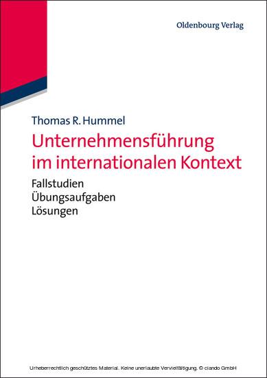 Unternehmensführung im internationalen Kontext - Blick ins Buch