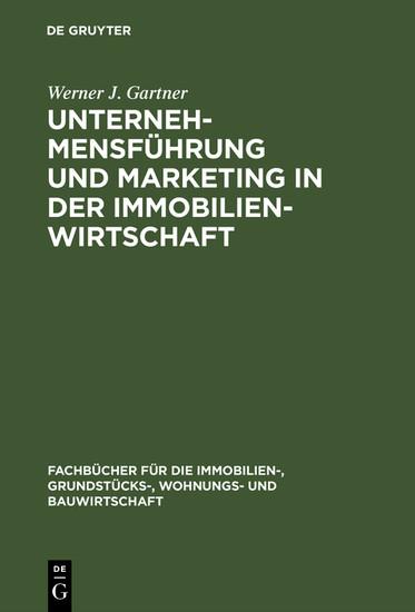 Unternehmensführung und Marketing in der Immobilienwirtschaft - Blick ins Buch