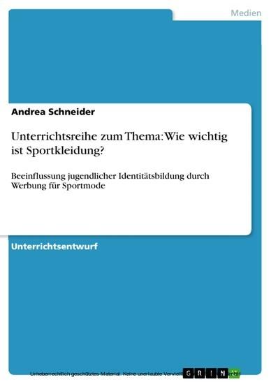 Unterrichtsreihe zum Thema: Wie wichtig ist Sportkleidung? - Blick ins Buch