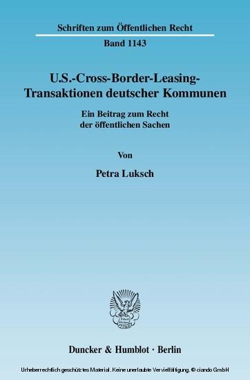 U.S.-Cross-Border-Leasing-Transaktionen deutscher Kommunen. - Blick ins Buch