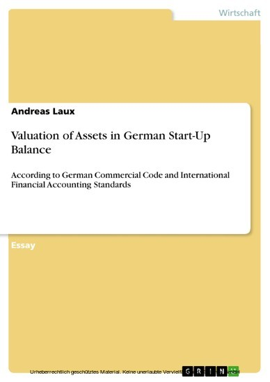 Valuation of Assets in German Start-Up Balance - Blick ins Buch