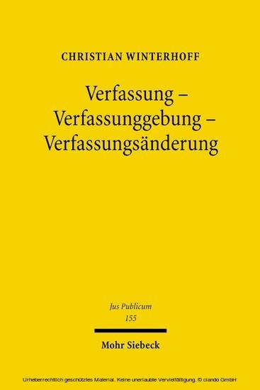 Verfassung - Verfassunggebung - Verfassungsänderung - Blick ins Buch