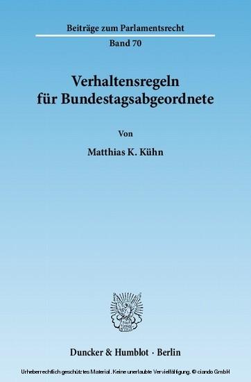 Verhaltensregeln für Bundestagsabgeordnete. - Blick ins Buch