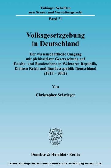 Volksgesetzgebung in Deutschland. - Blick ins Buch