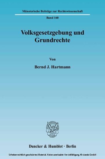 Volksgesetzgebung und Grundrechte. - Blick ins Buch