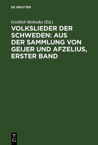 Volkslieder der Schweden: aus der Sammlung von Geijer und Afzelius, erster Band - Blick ins Buch