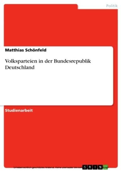 Volksparteien in der Bundesrepublik Deutschland - Blick ins Buch