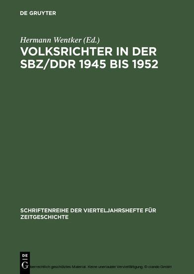 Volksrichter in der SBZ/DDR 1945 bis 1952 - Blick ins Buch