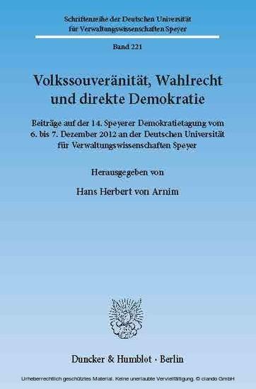 Volkssouveränität, Wahlrecht und direkte Demokratie. - Blick ins Buch