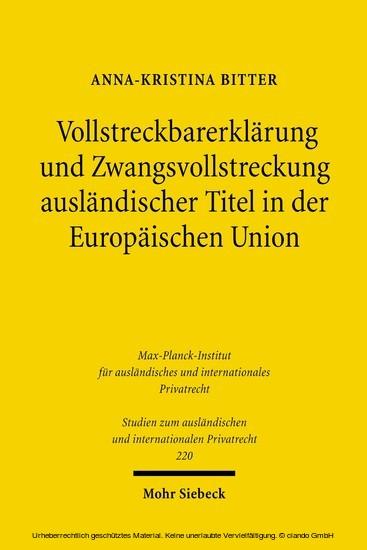 Vollstreckbarerklärung und Zwangsvollstreckung ausländischer Titel in der Europäischen Union - Blick ins Buch