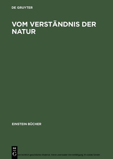 Vom Verständnis der Natur - Blick ins Buch