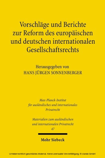Vorschläge und Berichte zur Reform des europäischen und deutschen internationalen Gesellschaftsrechts - Blick ins Buch