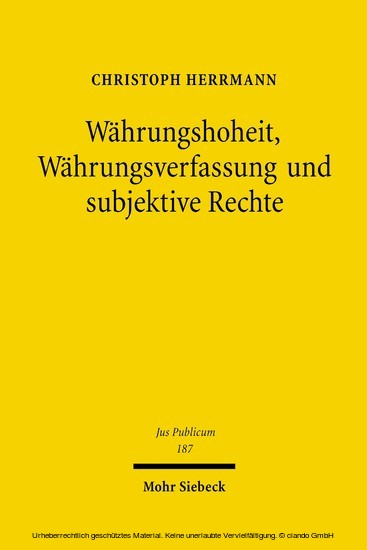 Währungshoheit, Währungsverfassung und subjektive Rechte - Blick ins Buch