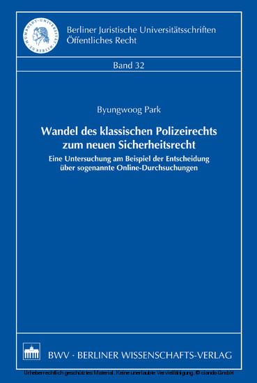 Wandel des klassischen Polizeirechts zum neuen Sicherheitsrecht - Blick ins Buch