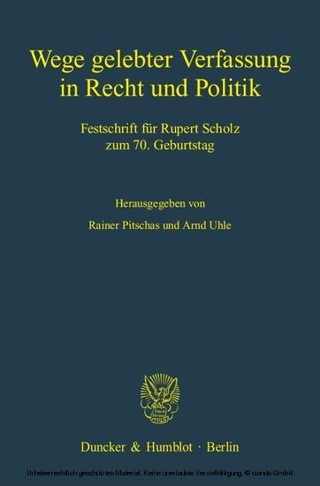 Wege gelebter Verfassung in Recht und Politik. - Blick ins Buch