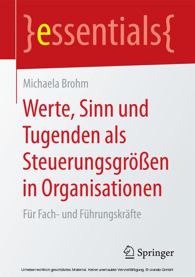 Werte, Sinn und Tugenden als Steuerungsgrößen in Organisationen - Blick ins Buch