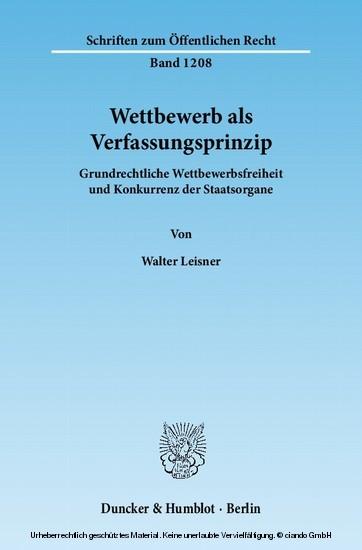 Wettbewerb als Verfassungsprinzip. - Blick ins Buch