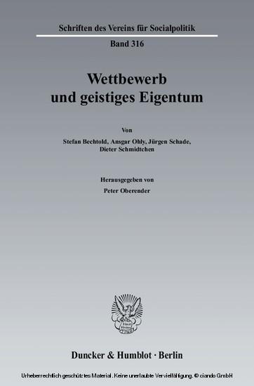 Wettbewerb und geistiges Eigentum. - Blick ins Buch