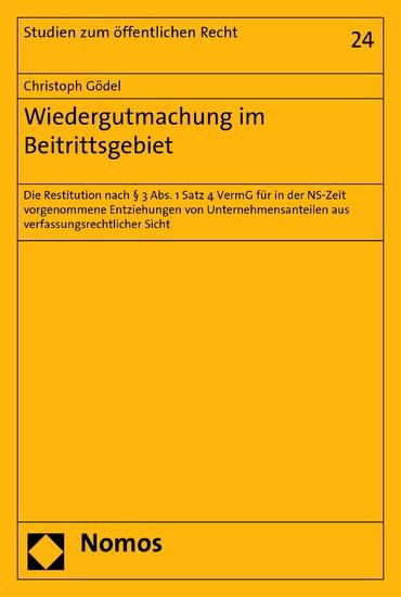 Wiedergutmachung im Beitrittsgebiet - Blick ins Buch