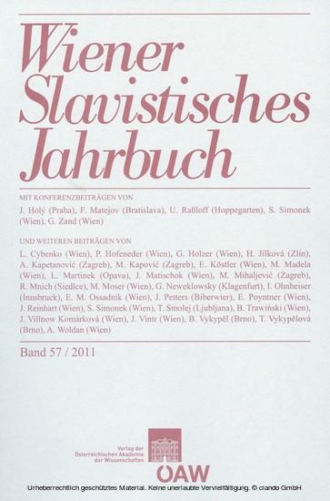 Wiener Slavistisches Jahrbuch, Band 57 / 2011 - Blick ins Buch