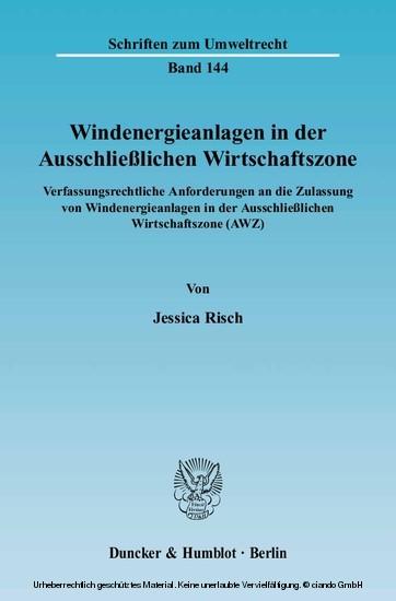 Windenergieanlagen in der Ausschließlichen Wirtschaftszone. - Blick ins Buch
