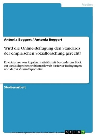 Wird die Online-Befragung den Standards der empirischen Sozialforschung gerecht? - Blick ins Buch