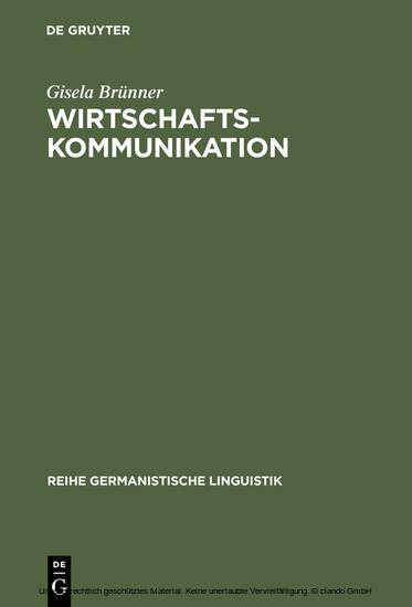 Wirtschaftskommunikation - Blick ins Buch