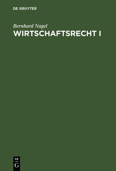Wirtschaftsrecht I - Blick ins Buch