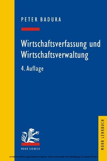Wirtschaftsverfassung und Wirtschaftsverwaltung - Blick ins Buch
