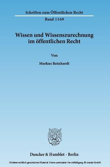 Wissen und Wissenszurechnung im öffentlichen Recht. - Blick ins Buch