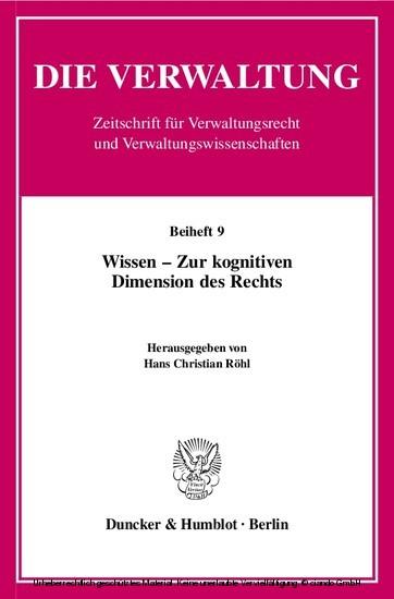 Wissen - Zur kognitiven Dimension des Rechts. - Blick ins Buch