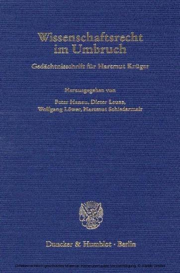 Wissenschaftsrecht im Umbruch. - Blick ins Buch